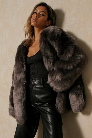 Charcoal Luxe Paneled Faux Fur Coat