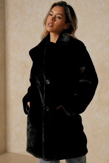 Black Plush Oversized Faux Fur Coat