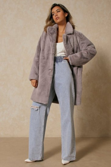 Grey Plush Oversized Faux Fur Coat