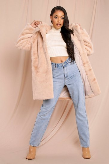 Sand Plush Oversized Faux Fur Coat