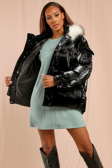 Black Pocket Pearlescent Faux Fur Trim Puffer