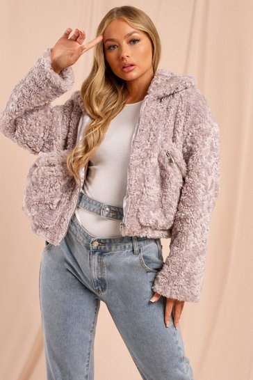 Lilac Soft Faux Fur Pocket Detail Jacket