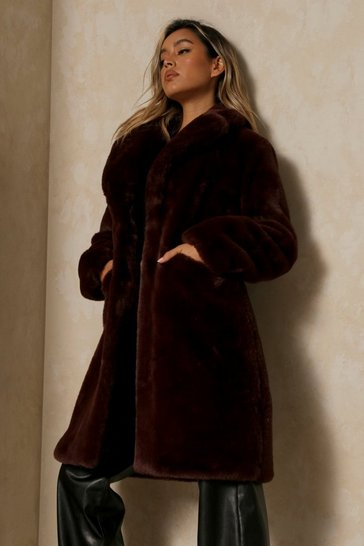 Chocolate Plush Faux Fur Coat