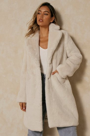 Cream Plush Faux Fur Coat