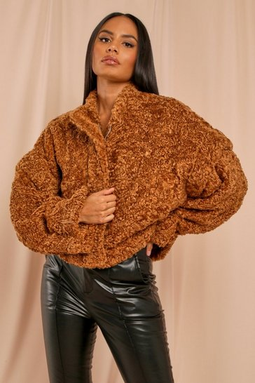 Toffee Oversized Crop Teddy Faux Fur Bomber