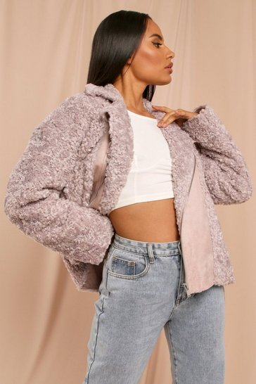 Lilac Oversized Faux Teddy Fur Aviator
