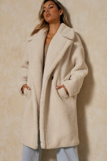 Cream Oversized Teddy Faux Fur Coat