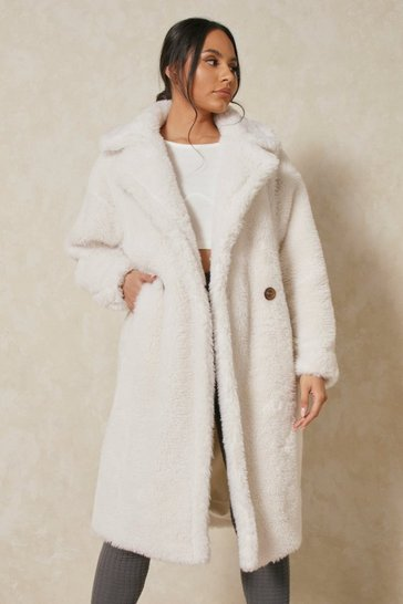 Cream Oversized Teddy Faux Fur Coat Airforce
