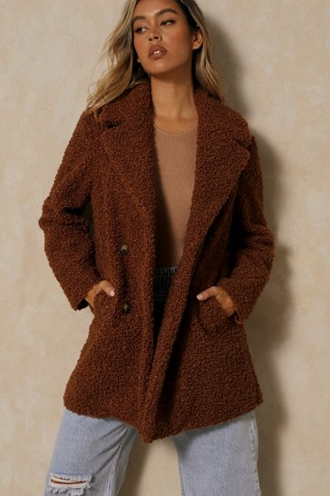 Chocolate Double Breasted Bonded Faux Fur Teddy Coat