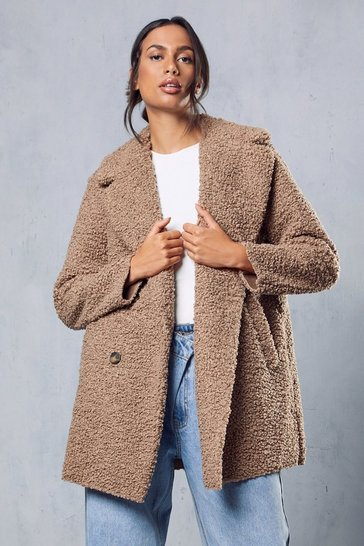 Stone Double Breasted Bonded Faux Fur Teddy Coat