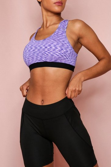 Lilac Active Racer Back Marl Sports Bra