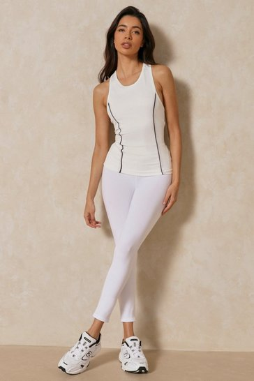 White Active Elastic Waist Basic Leggings
