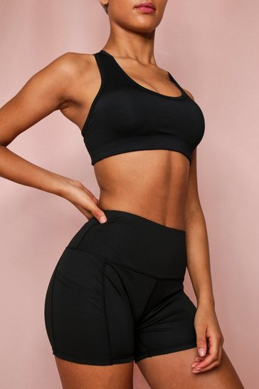 Black Active Pocket Detail Hot Pants