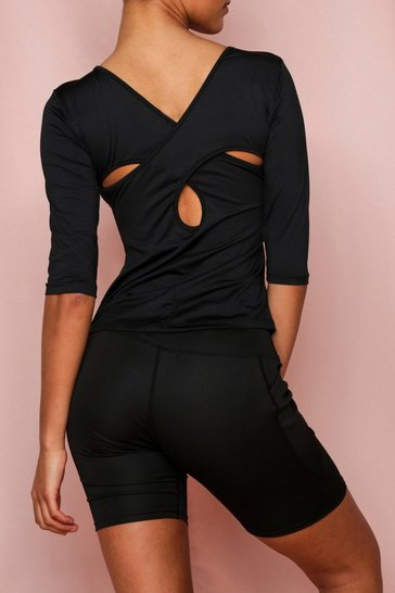 Black Active Cross Back Half Sleeve Top
