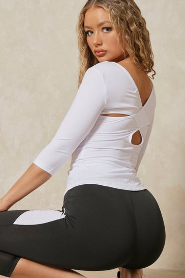White Active Cross Back Half Sleeve Top