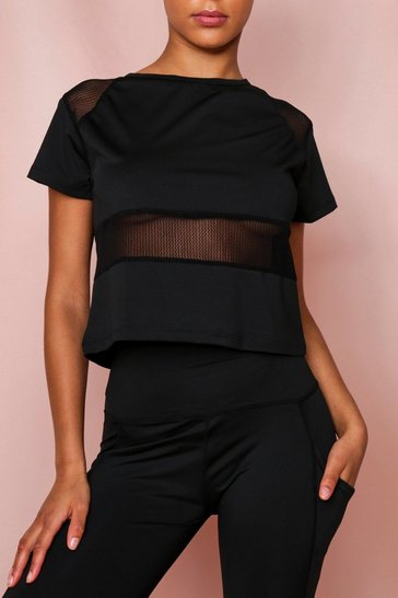 Black Active Mesh Panelled Boxy T-Shirt