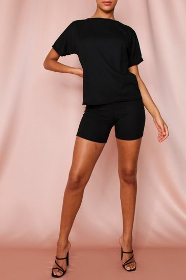 Black Ribbed Cycling Short &T-Shirt Set