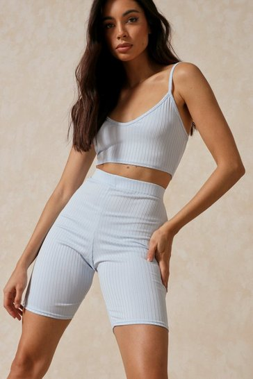 Light blue Pastel Rib Crop Top & Cycle Short Set
