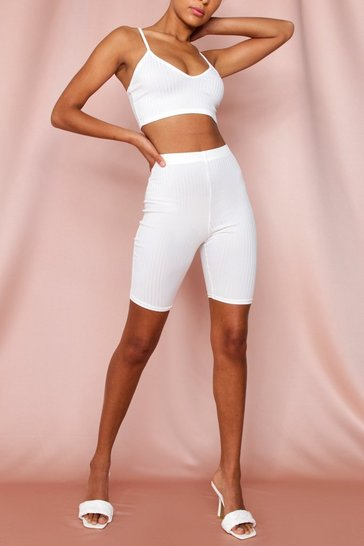 Off white Rib Crop & Cycle Short