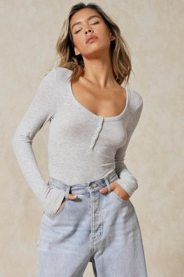 Grey marl Button Front Scoop Neck Ribbed Bodysuit