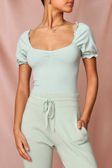 Mint Puff Sleeve Jersey Bodysuit