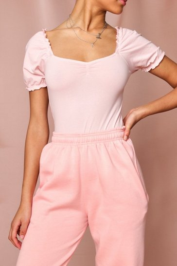 Pink Puff Sleeve Jersey Bodysuit