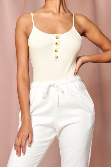 Cream Ribbed Button Front Strappy Bodysuit