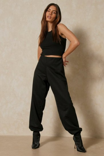 Black Basic Oversized Loopback Joggers