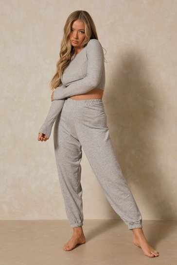 Grey Basic Oversized Loopback Joggers