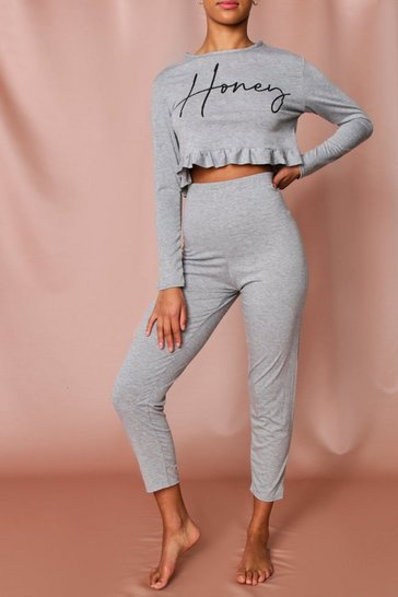 Grey Honey Slogan Frill Hem Pj Pants Set