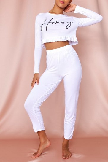 White Honey Slogan Frill Hem Pj Pants Set
