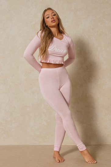 Pink Dreamy Slogan Frill Hem Pj Pants Set