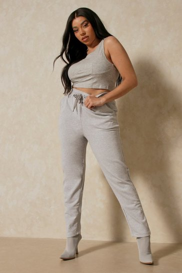 Grey Basic Straight Leg Fleece Jogger