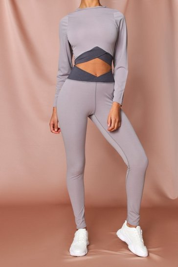 Grey Fit Contrast Waist Detail Leggings