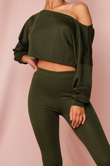 Khaki Off The Shoulder Cropped Rib Lounge Set