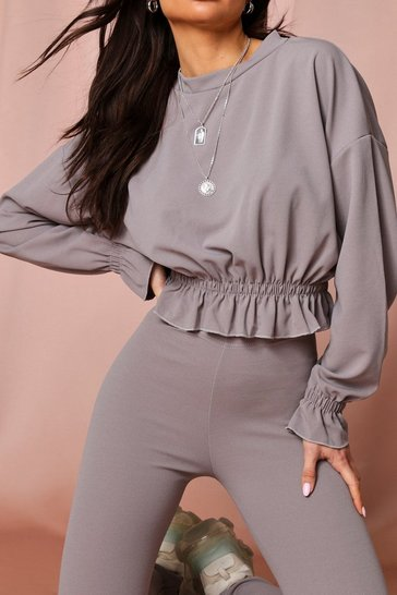 Grey Frill Detail Lounge Set