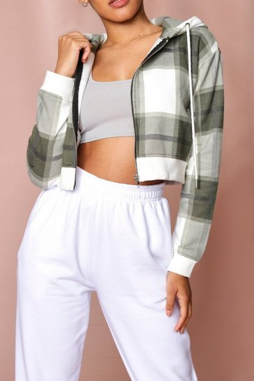 Khaki Check Zip Up Cropped Hooded Sweat