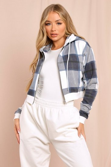 Navy Cropped Check Print Zip Up Hoodie