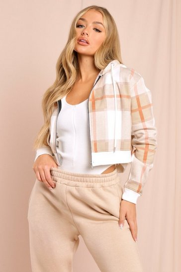 Stone Cropped Check Print Zip Up Hoodie