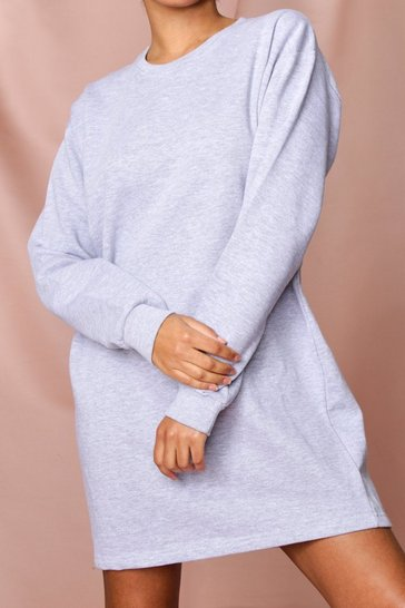 Grey Oversized Fleece Sweater Dress