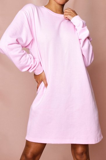 Pink Oversized Fleece Sweater Dress