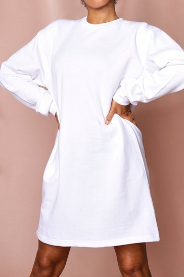 White Oversized Fleece Sweater Dress