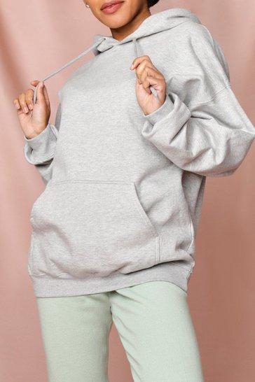 Grey marl Oversized Fleece Hooded Sweatshirt