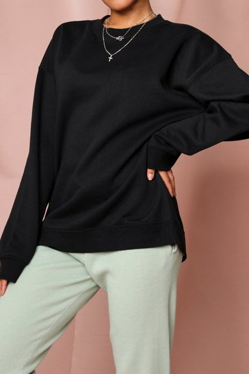 Black Oversized Crew Neck Fleeced Sweatshirt