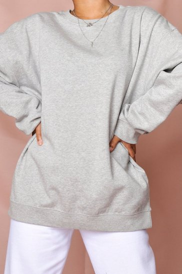 Grey marl Oversized Crew Neck Fleeced Sweatshirt