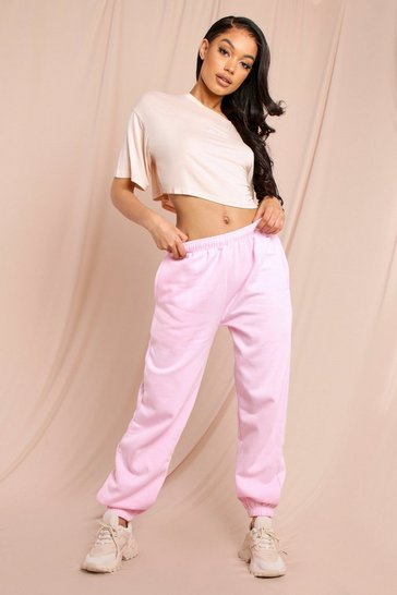 Pink Oversized Fleece Back Cuffed Joggers