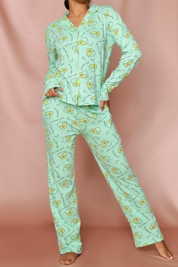 Green Avocado Print Pajama Set