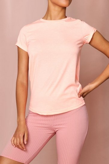 Neon-coral Turn Up Cuff T Shirt
