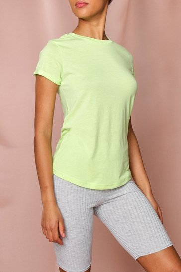 Neon-lime Bright Turn Up Cuff T Shirt