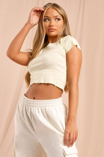 Cream Lettuce Hem Cropped T Shirt